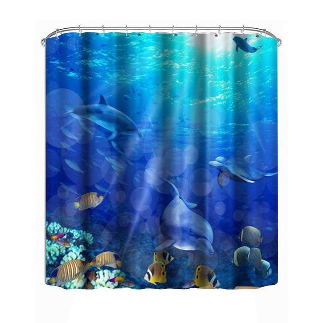 Shower Curtain 3D Submarine World Dolphin Bathroom Fabric Creative Scenery Blue Bath With Hooks 180x180cm