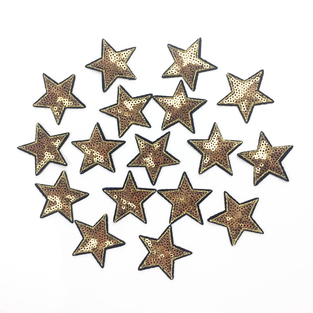10pcs Gold Star Iron On Patches For Clothes Iron On Badge ...