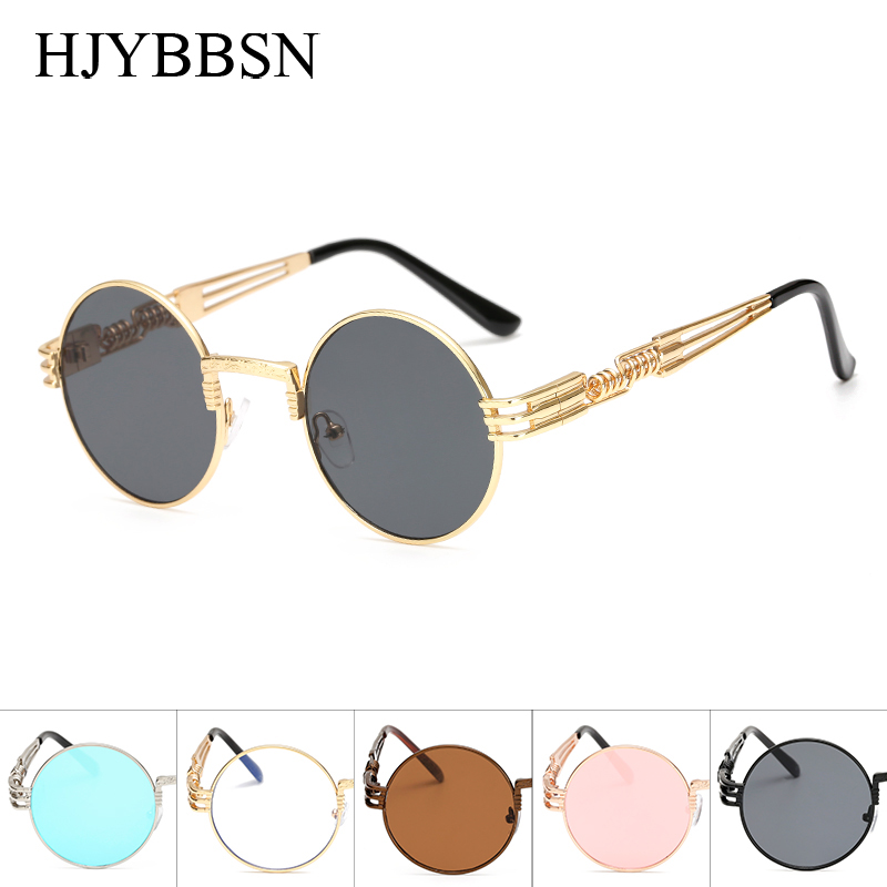 Round Shades Sunglasses Clear Steam Punk Metal Women Male For Hip-Hop