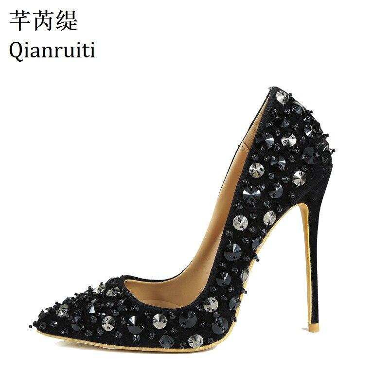 Femmes Black Pointu on Clouté 12 Slip Cm Rivets Bout Peu Talons Minces Noir Hauts Qianruiti Profonde 1 Super Pompes Sexy 2 Chaussures black xqXwHZpIC