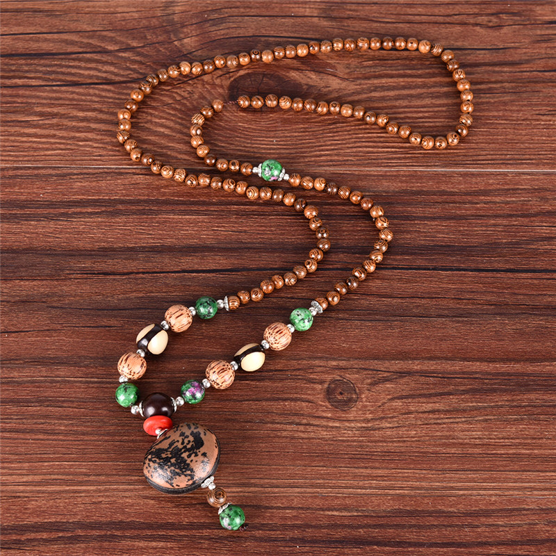Vintage Multi-Color Wood Beads Necklaces Natural Stone Pendant Long Sweater Necklace Women Man Jewelry