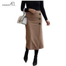 AEL רטרו נשי גובה סימטריה מותניים צמר Midi חצאית לעטוף חדש משובץ נשים בציר בגדי אופנה כיסא נהיגה לראשונה חצאית Femme Slim