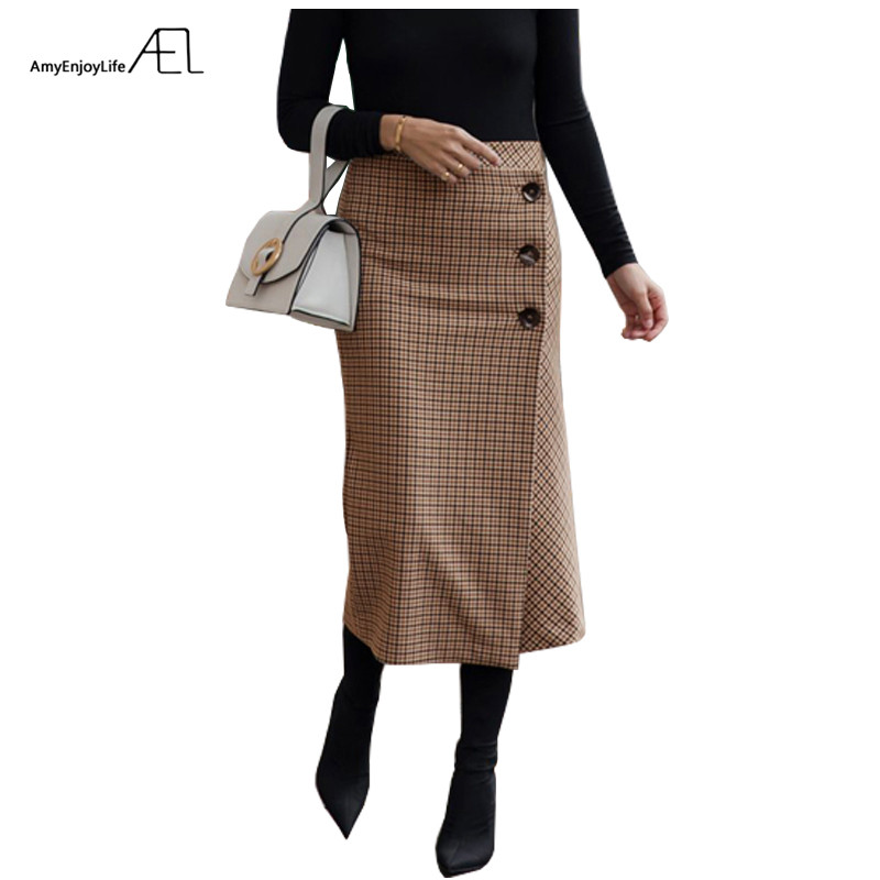 AEL Retro Female Hight Waist Asymmetry Woolen Midi Skirt Wrap New Plaid Women Clothing Vintage Fashion Jupe Longue Femme Slim