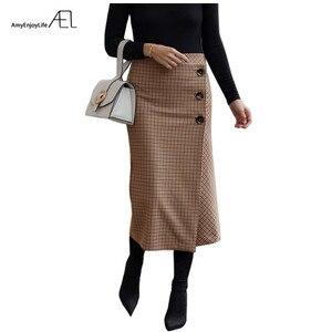 Image 1 - Ael retro feminino altura da cintura assimetria de lã midi saia envoltório novo xadrez roupas femininas moda vintage jupe longue femme magro