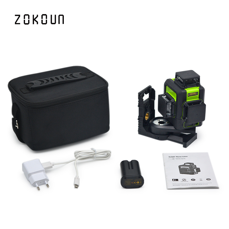 цена на Zokoun 3 x 360 3D green beam high performance qualified tilt functional line leveling laser with lithium battery and bracket