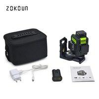 Zokoun 3x360 3D зеленый луч высокая производительность квалифицированных наклона функциональная линия выравнивания лазер с литиевая батарея и к