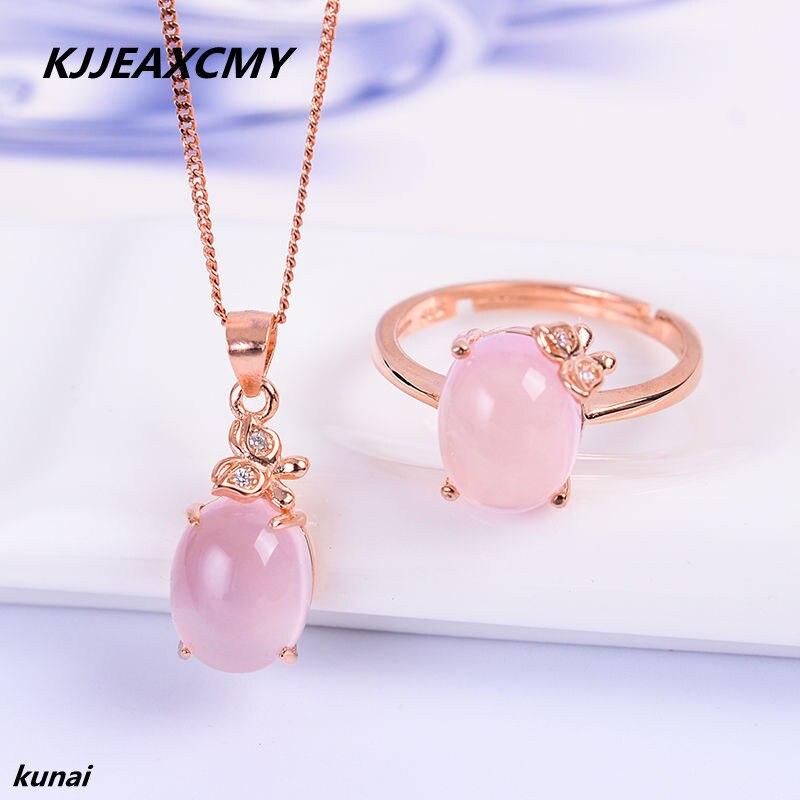 KJJEAXCMY boutique bijoux 925 argent incrusté naturel poudre cristal anneau pendentif dame costume pour collier.