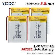 1/2/4 szt. Akumulator litowo-jonowy 582535 litowo-polimerowy 3.7V 600mAh baterie do MP3 MP4 MP5 zestaw słuchawkowy BLUETOOTH GPS