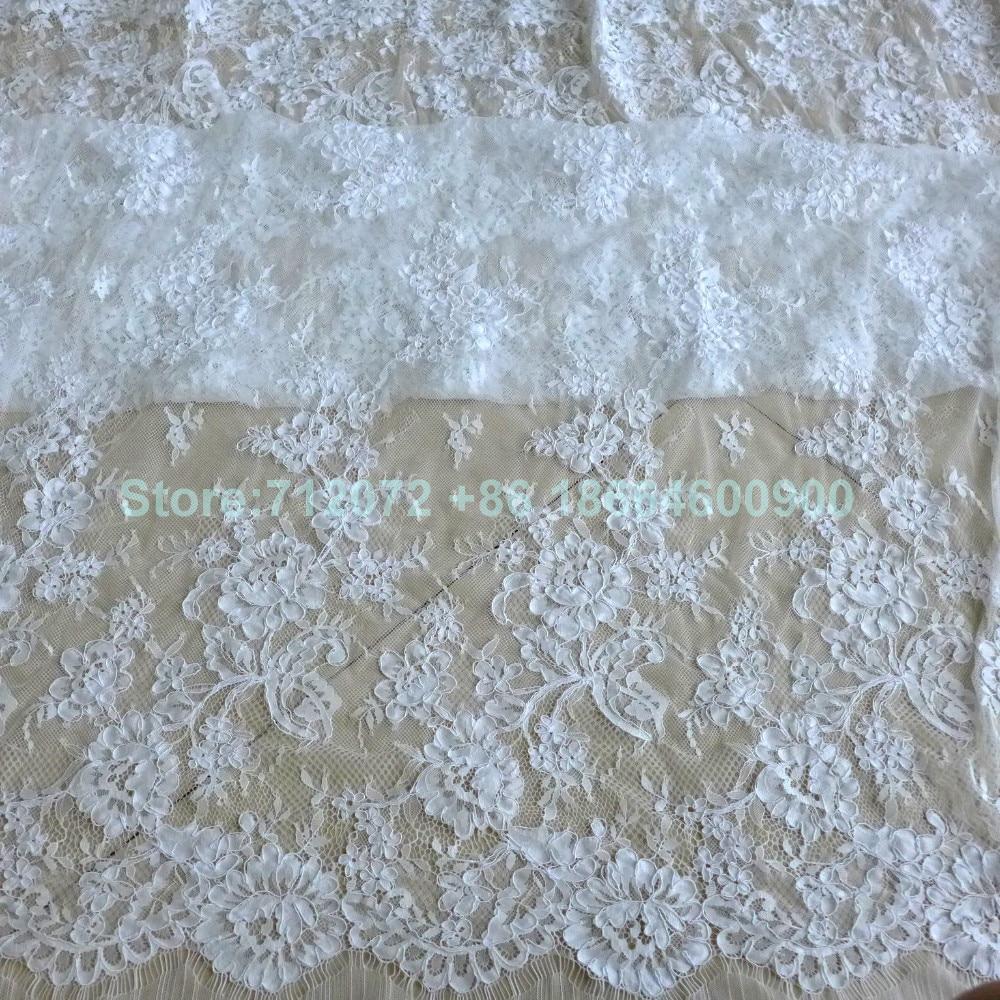 150 cm * 3 meters door stuk goede kwaliteit off wit Venetië geborduurde Franse wimper bruids kant stof