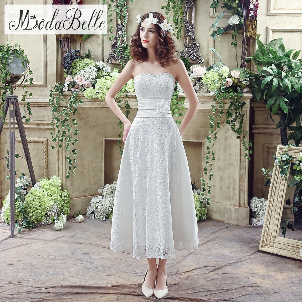 in stock 2016 white ivory sweetheart lace wedding dresses a line cheap casual tea length elegant