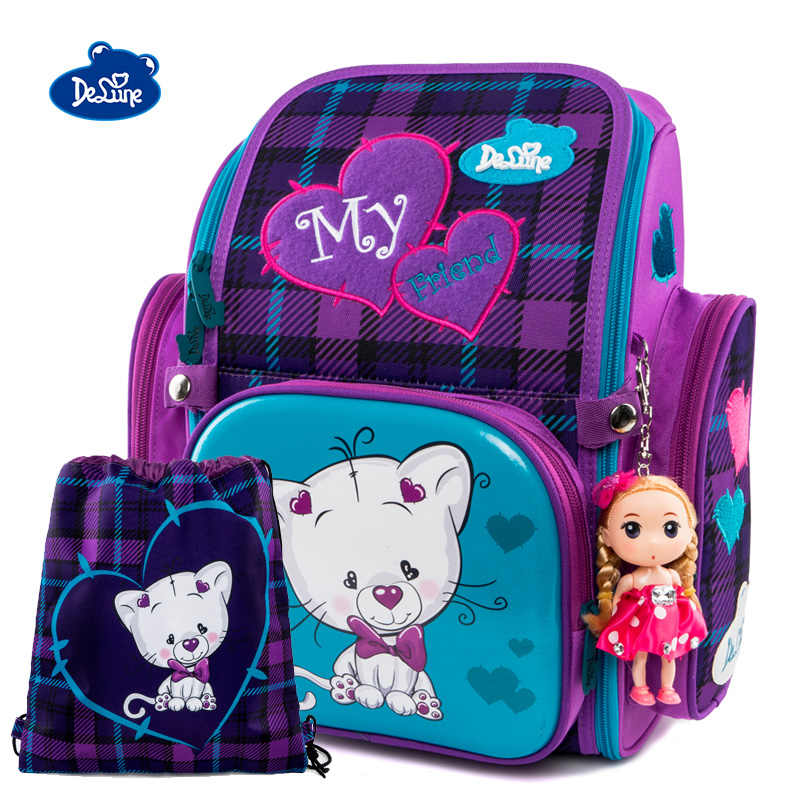 2019 Delune Cat Print School Bags Girls Orthopedic Children Fold Satchel Backpack  School Chang Shoes Bag 949888388f9dc