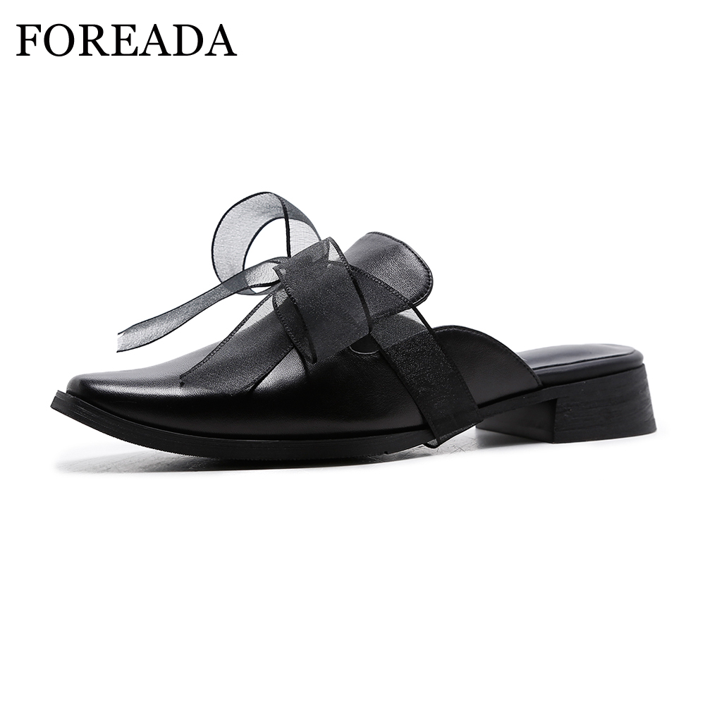 FOREADA Women Shoes Spring Genuine Leather Shoes Flats Slip On Mules Bow-knot Square Toe Casual Female Shoes Black Slip Flats women genuine leather slip on pointed toe lazy shoes sweet bow knot shallow party spring autumn women pumps black pink