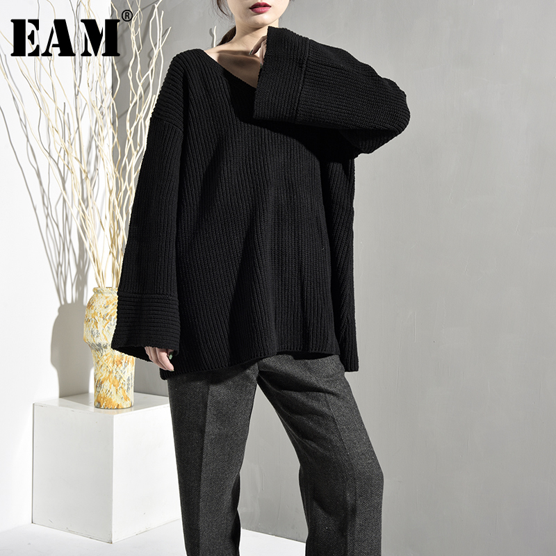 [EAM] 2020 New Spring Autumn V-Neck Long Sleeve Black Loose Think Loose Big Size Knitting Sweater Women Fashion Tide QE1550