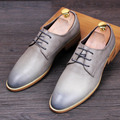 British fashion men's office wedding dress vintage lace cow leather shoes man flat oxfords shoe point zapatos hombre footwear