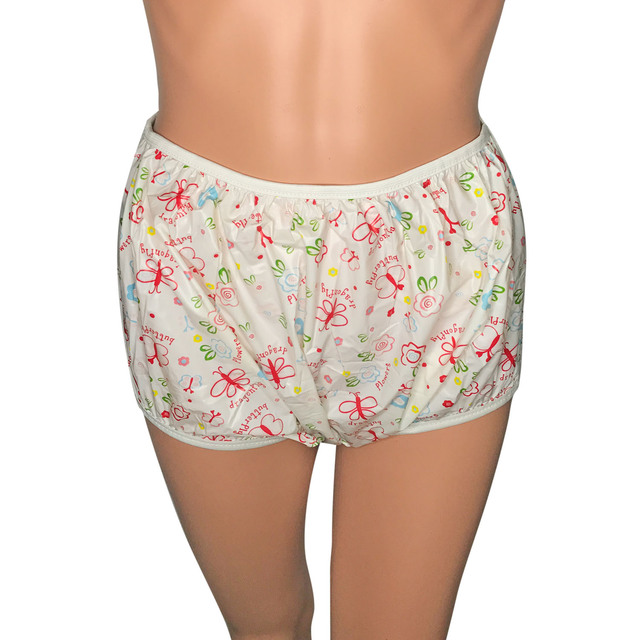 Adult Size Butterfly Pink Pull Up PVC Diaper Plastic Pants Incontinence Briefs