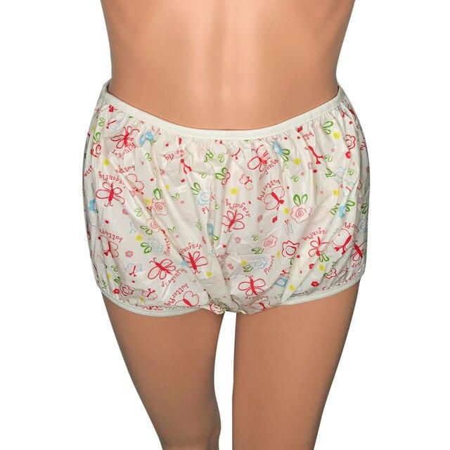 למבוגרים גודל פרפר ורוד למשוך עד PVC חיתול מכנסיים פלסטיק בריחת תחתונים