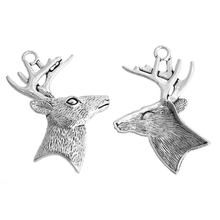 MJARTORIA 10PCs Vivid Carved Deer Head Pendants DIY Charm Pendants Accessories For Jewelry Pendants For Christmas Decorations(China)