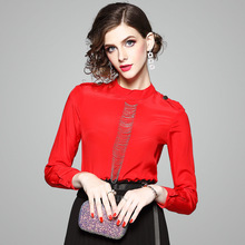 1e343f98969181 2018 Summer Stand Collar Red Black High Quality Real Silk 100% Blouse Long  Sleeve Vintage