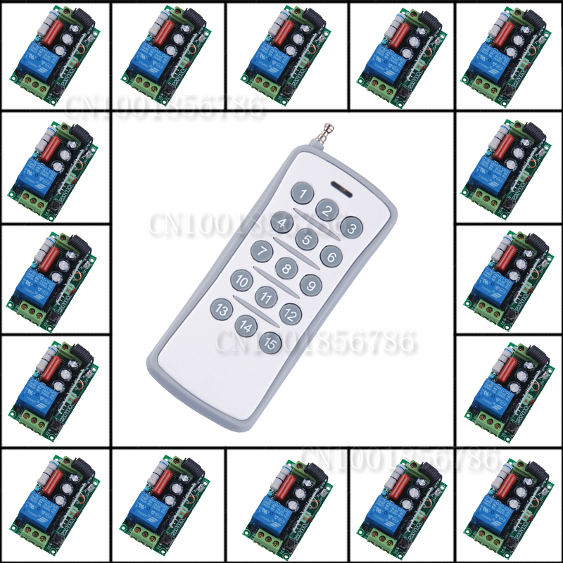 220V 10A1CH RF Wireless Remote Control Switch Light Lamp LED ON OFF 433MHZ/315MHZ 15Receiver&1transmitter Output Adjusted remote control switch led light lamp remote on off system ac85v ac260v 100v 110v 240v 230v 127v learning code receiver 315 433