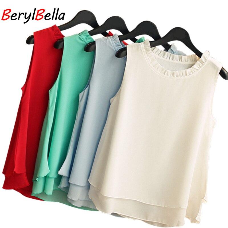 Women Chiffon Blouse Elegant Sleeveless Chemise 2017 Summer Retro Ruffle White Black Shirt Tops Clothes For Women BerylBella