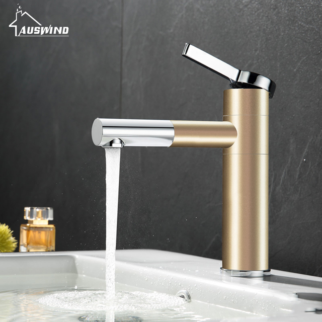 Kitchen Faucets Brass Electroplate Champagne Gold Faucet For Single Handle Hole 360 Degree Mixer Water