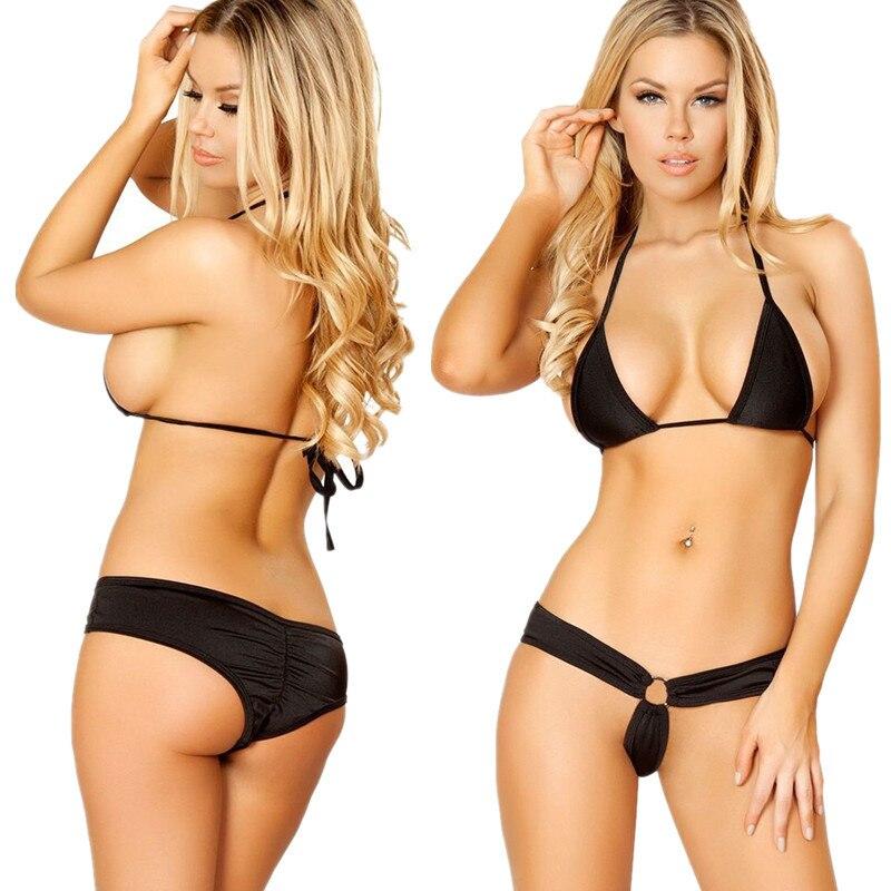 61182f8d4b40 2018 nuevo conjunto de Bikini sólido de verano para mujer push-up sujetador  sin relleno traje de baño triángulo bañador traje de baño biquini
