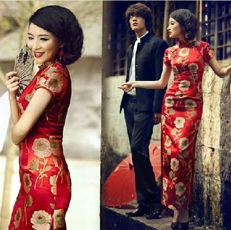 aa86f261a € 17.09  Moderno chino qipao vestidos rojo chino vestido de novia qipao  largo rojo chino tradicional Vestido largo de las mujeres en Cheongsams de  ...
