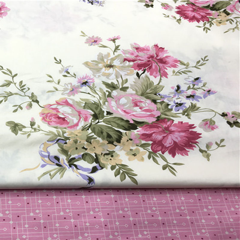 100x160cm Romantic Pink Big Rose Flowers & Pink Abstract Check Printed Cotton Fabri For DIY Sewing Quliting Decoration
