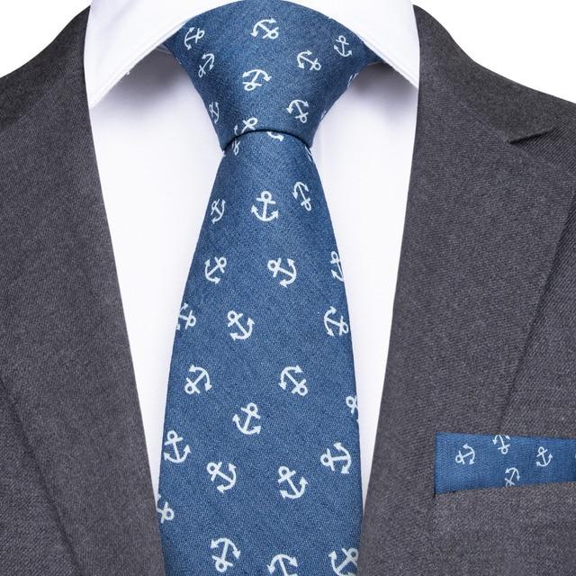 768d4d75eb42 DiBanGu Tie With Hanky 6.5cm Slim Men Tie Casual Blue White Skinny Ties  100% Silk Necktie For Men Wedding Party Formal NZ-0006