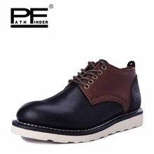 Pathfinder 2016 Men's Autumn Desert Boots Lace Up Casual Short Boots Genuine Leather Ankle Boots Men Snow Shoes