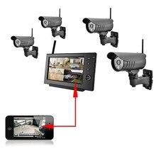 Главная Камеры Безопасности 4 Беспроводных Камер 7 Дюймов Беспроводной Монитор DVR Удаленного Просмотра Через Смартфоны Инфракрасного Зондирования Сигнализации