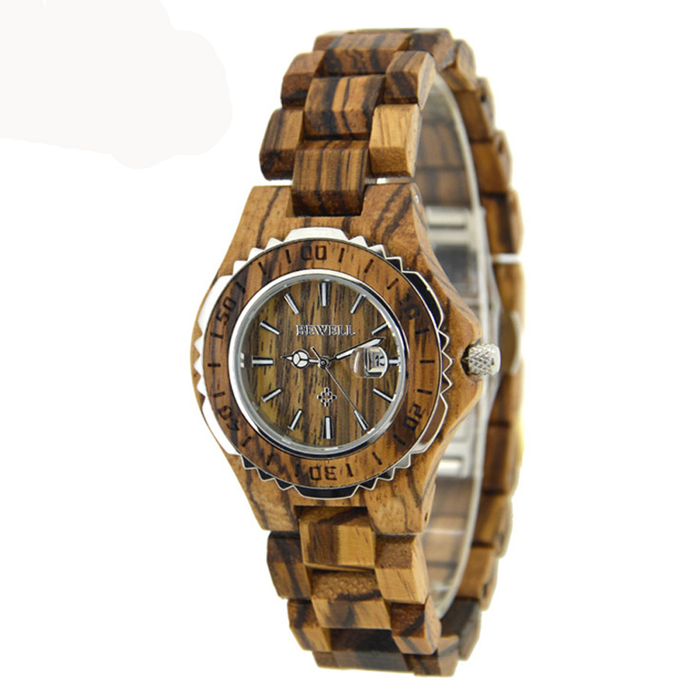 BEWELL Ladies Quartz Wood Watch Stainless Steel Back Water Resistant Dial Full Wood Band Luminous Pointer with Calendar 100BL bewell men wood dial quartz watch leather strap watches luminous pointer calendar roman numerals scale waterproof wristwatches