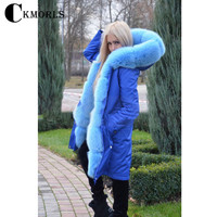 CKMORLS Women Clothes Real Fur Coat With Blue Fox Fur Collar Thick Warm Fur Parka Hoody Long Jacket 80cm Fashion Winter New Coat