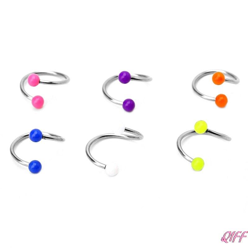 12Pcs//Set Curved Bar Barbell Ball Spike Tragus Eyebrow Lip Ring Body Piercing Ua