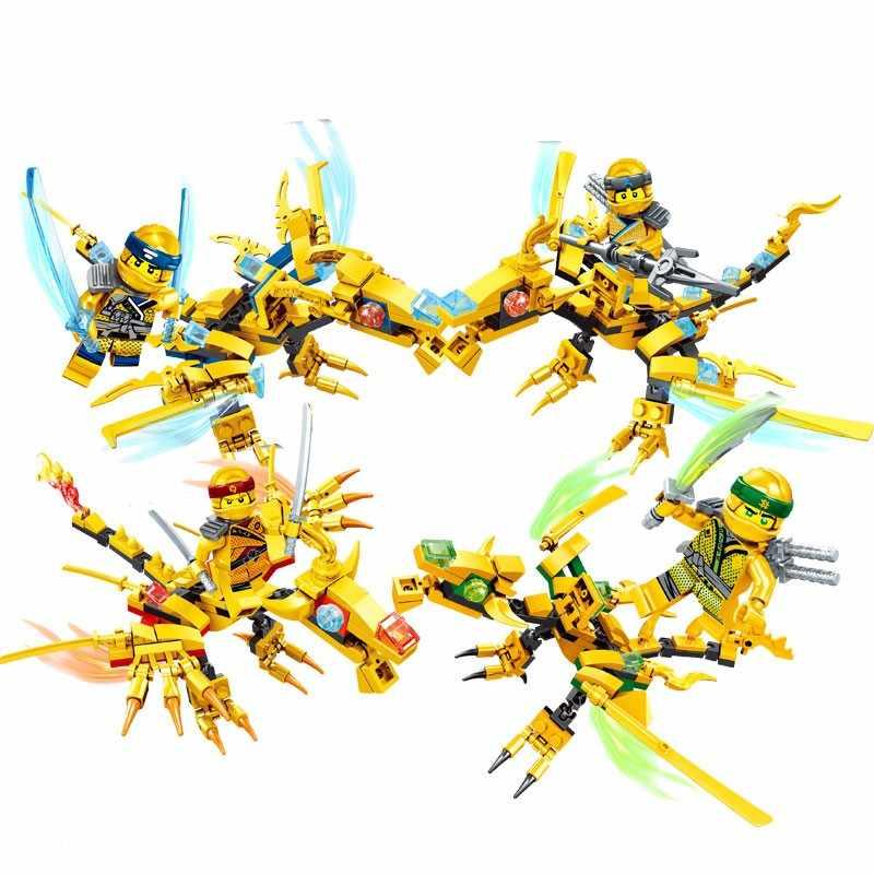 Legoings Ninjago 4 Золотые драконы Cole Кай Зейн строительные блоки игрушки для детей