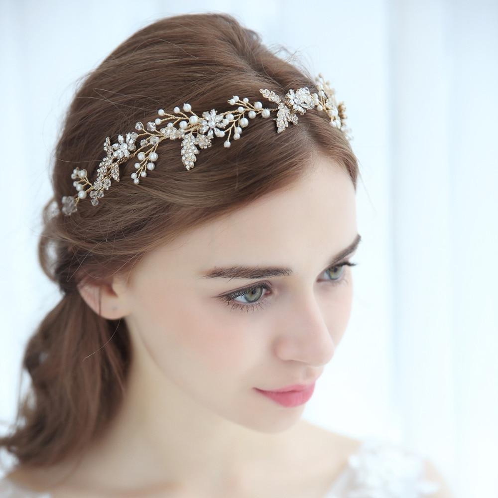 Wedding Headpiece For 2018: Elegant Rosm Blossom And Leaf Hair Vine Crystal Beaded