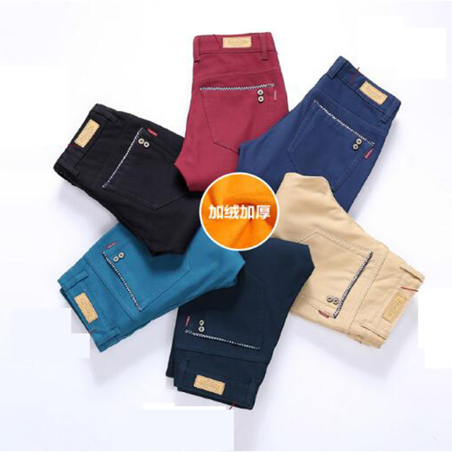 New Winter trousers men pant Plus thick velvet business  casual loose elastic  male fleece warm pants large size free delivery