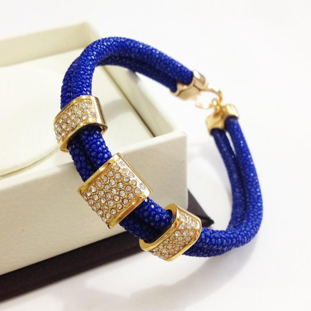 Luxury Brand Men Blue Leather Bracelets Genuine Stingray Leather Square Crystal for Men Jewelry Best Gift Instagram nidin 2017 men jewelry brown genuine leather bracelets