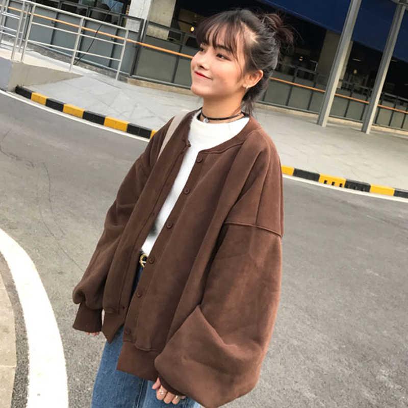 2018 корейский стиль женские толстовки желтый Топ Harajuku Толстовка Зимняя одежда женская одежда с длинным рукавом оверсайз Kawaii одежда