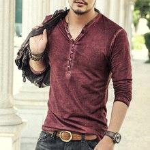 Brand Designer Men Cotton Vintage Henry T Shirts Casual Long Sleeve High quality Men old color Cardigan T shirt  2016 hot sale