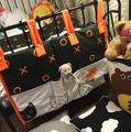 45*50CM Cotton Baby Bedding Sets Storage Bag Cartoon Two-color Stitching Pattern Baby Bed Diaper Clothes Toy Bag