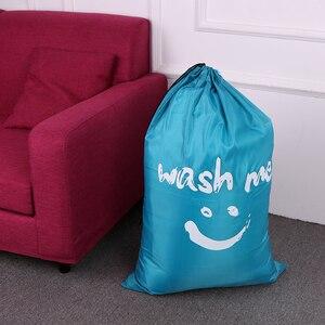 Image 1 - Wäsche Tasche Faltbare Nylon Kordelzug Wäsche Tasche Schmutzige Kleidung Lagerung Taschen Multi funktionale Hause Waschsalon Reise Veranstalter