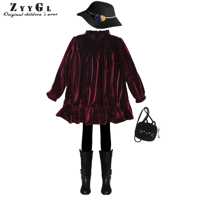 ZYYGL children dress velvet dresses for girls long sleeves autumn princess dresses Red Purple blue velvet kids  Free postage sexy princess dress uniform red yellow blue free size