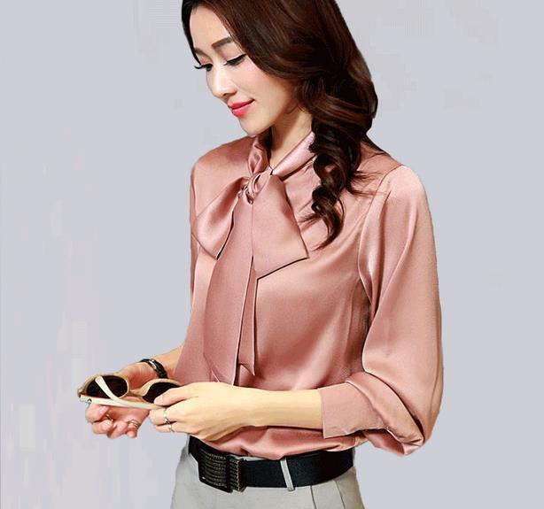 8bc8aa40125b79 Big size Long sleeve bow blouse women satin blouse women formal loose  blouses uniform silk satin top elegant office satin shirts