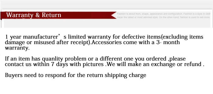 warranty and  return