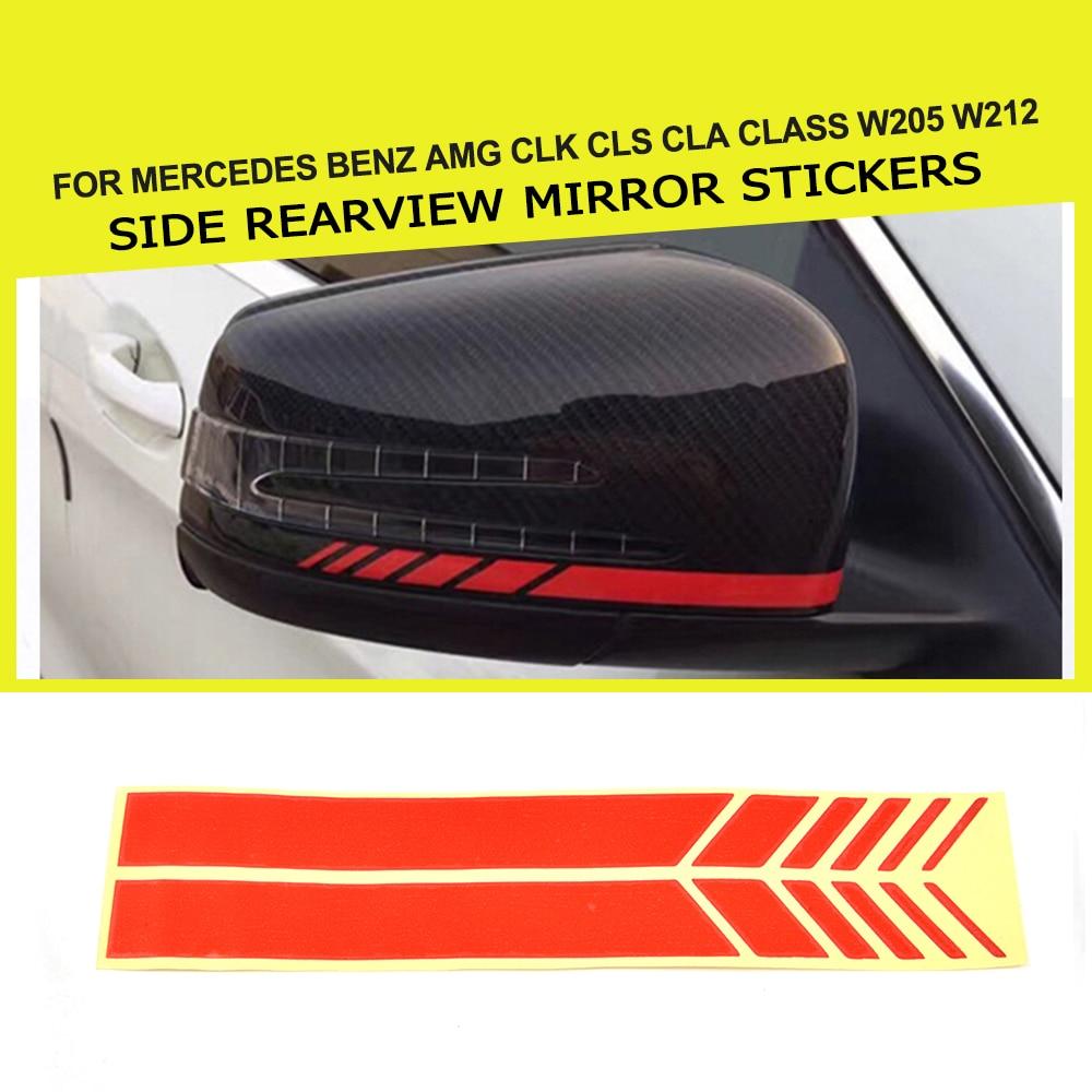 2 قطع الجانب مرآة الرؤية الخلفية ملصقات ديكور الجانب مرآة الديكور ملصقات السيارات لمرسيدس بنز AMG CLK CLS Cla الدرجة W205 w212