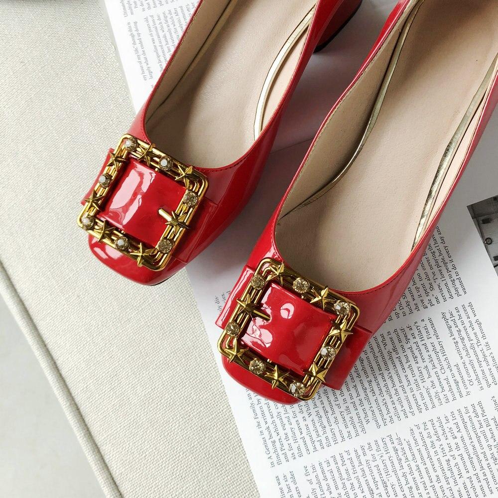 Carré Red Haute Cuir Talons Dames De yellow Med Verni Noir Rouge Femme Pompes Aiweiyi black Travail Mariage En Chaussures Talon zwxFAAqT