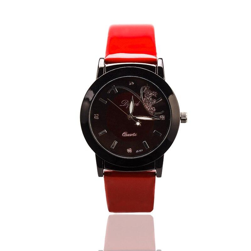 New women watches  branded luxury quartz watch fashion female watch button artificial leather strap clock analog bracelet watch