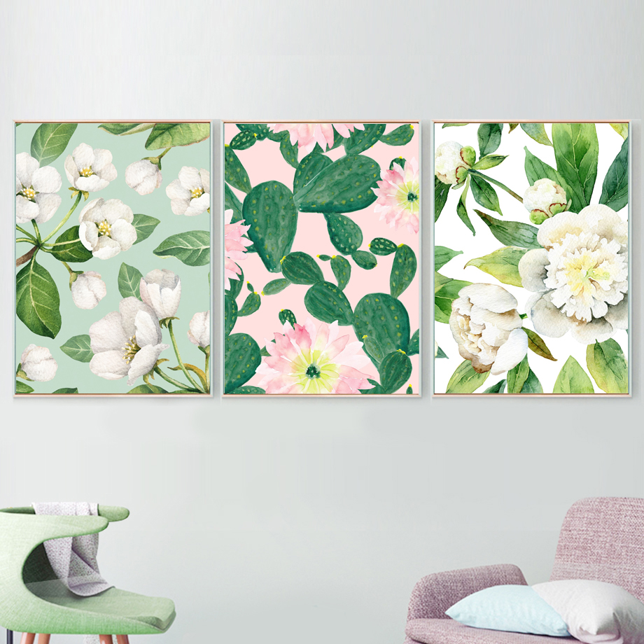 Jasmine Cactus Monstera Peony Flamingo Wall Art Canvas Painting Nordic Posters And Prints Wall Pictures For Living Room Decor