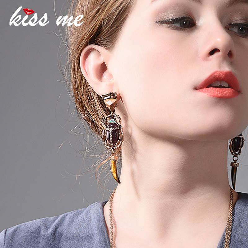 KISS ME Geometric Horn Resin Natural Stone Long Dangle Earrings for Women Fashion Jewelry Gift 2018